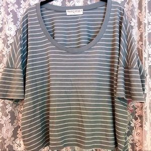 army green stripped loose t shirt